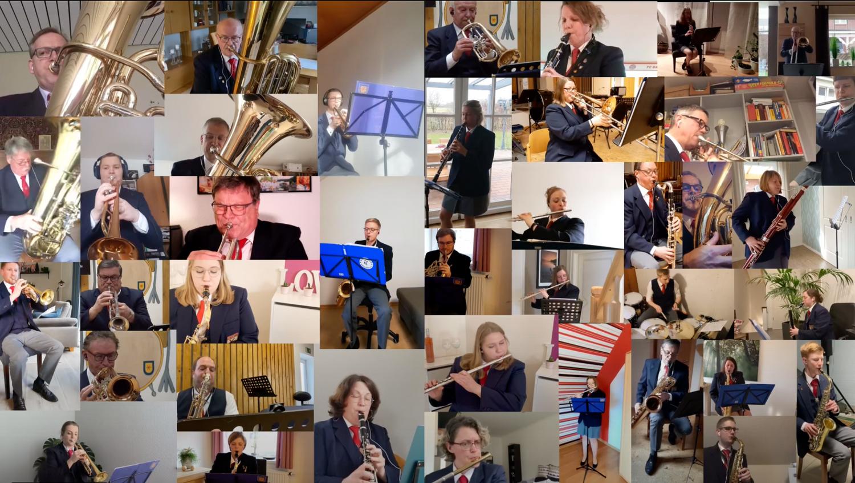 """Musizierten """"gemeinsam"""" für ein Musikvideo: Der Musikverein Holdorf wird 2022 100 Jahre alt. Foto: Musikverein Holdorf"""