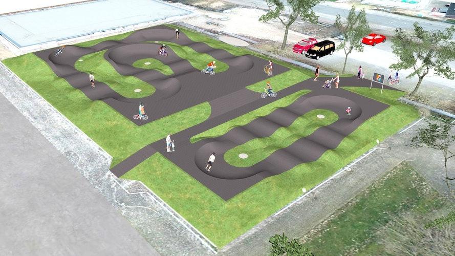 Der Pumptrack besteht aus zwei Bereichen. Eine Bahn eignet sich sowohl für Anfänger als auch Leistungssportler, den Kids-Parcours können schon Kleinkinder mit ihren Gefährten nutzen. Grafik: Radquartier