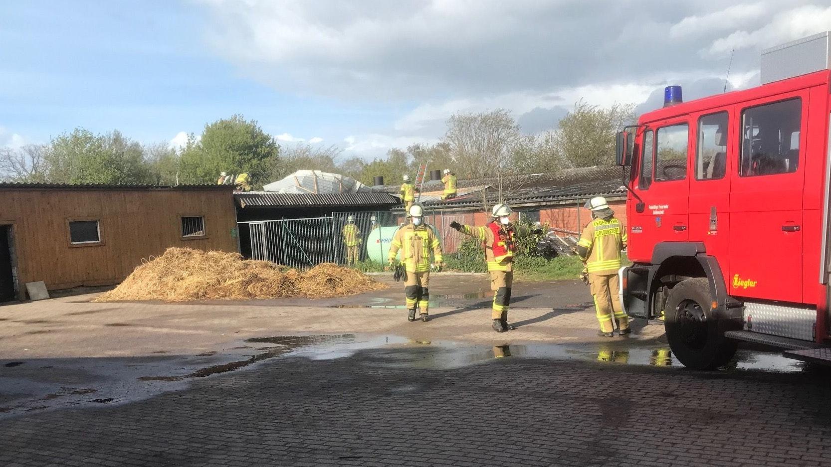 Feuerwehreinsatz: Ein großes Stück des Wellblechdachs ist auf den Nachbarstall geweht. Die Feuerwehr musste eingreifen. Foto: Prinz