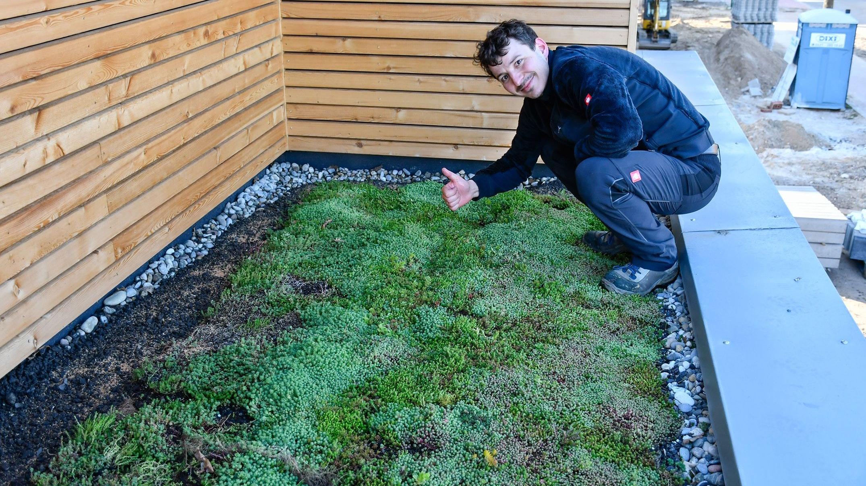 Architekt Sergej Belz aus Holdorf setzt aus Umweltschutzgründen auf Gründächer. Foto: Vollmer