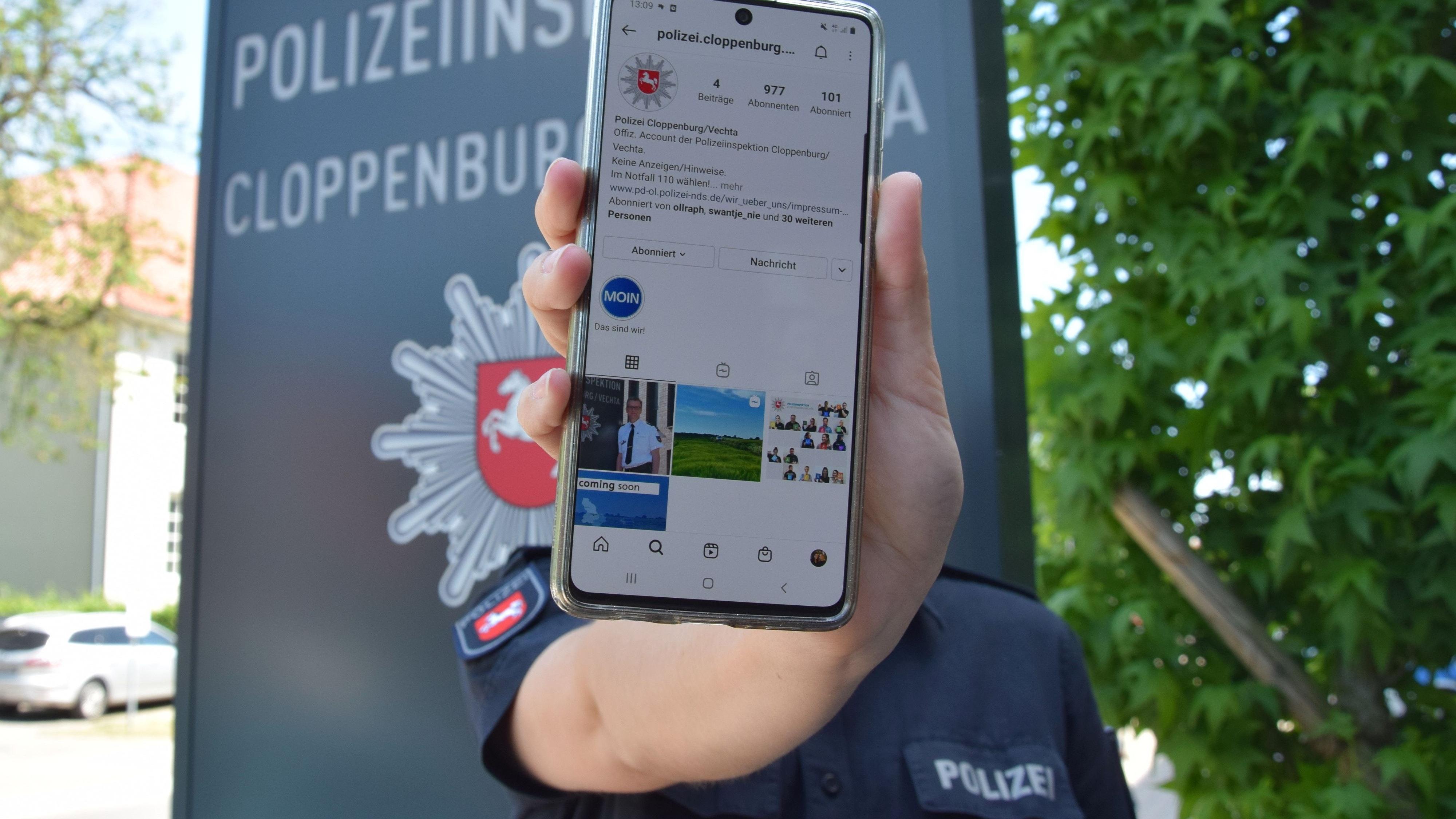 In 3 Tagen sammelte der neue Instagram-Account der Polizei fast 1.000 Abonnenten. Foto: Hahn