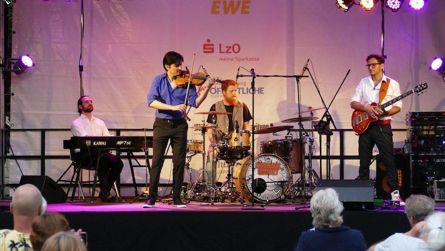 Voller Spielfreude: die Musiker des Chronatic Quartets. Foto:Frank Dierks