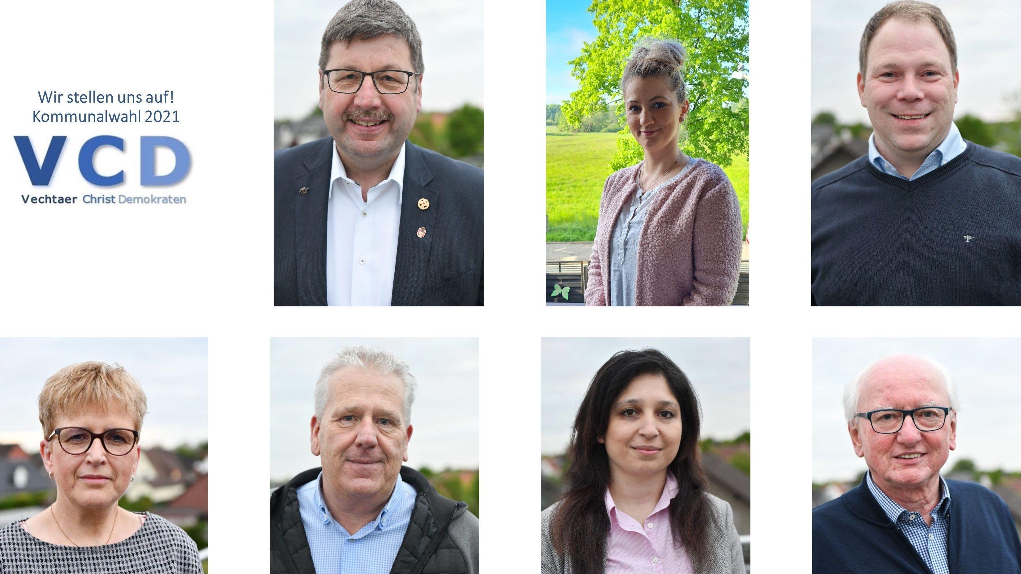 Sie gehen für die Vechtaer Christdemokraten ins Wahlrennen: (oben von links) Stephan Sieveke, Jessica Sylaj, Marcel Sordon sowie (unten von links) Martina Sommer, Frank Calvelage, Amira Hasso und Norbert Krümpelbeck. Fotocollage: VCD
