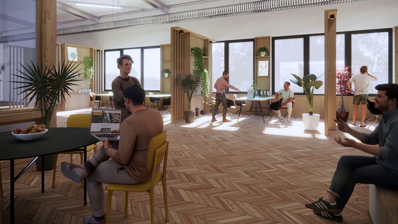 Neue Arbeitswelt: Das Herz des Innovationscampus ist ein Loft-Büro mit Coworking Space,Start-up-Area und Meetingräumen. Grafik: Niehues