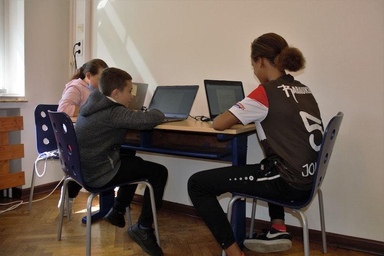 An den Laptops lernten und notierten die Kinder Informationen zu ihren Tieren. Foto: E.Wenzel