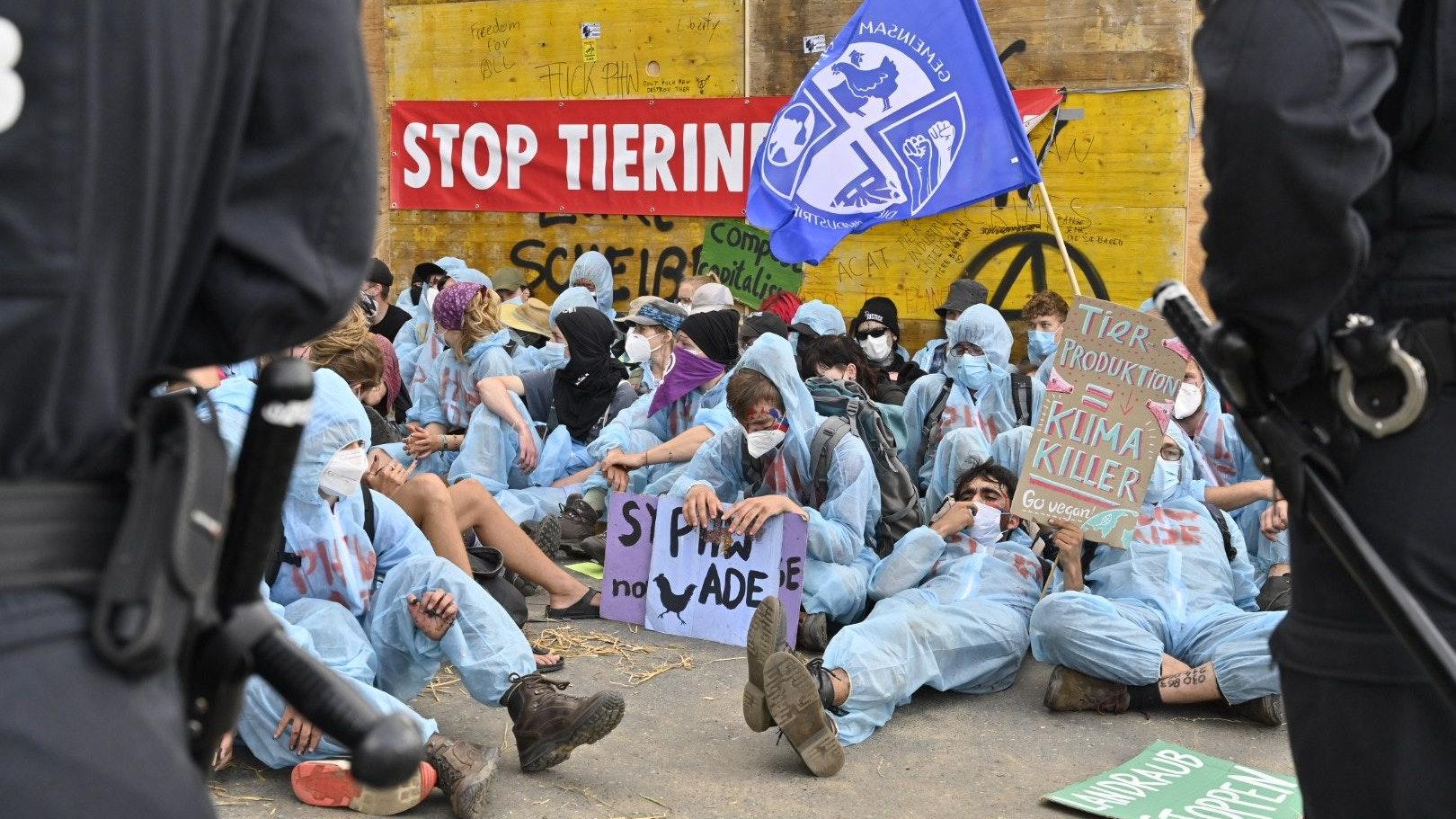 Vermummte Aktivisten bei Sitzblockade vor PHW-Zentrale in Rechterfeld. Die Polizei musste 119 Personen wegtragen. Foto: M. Niehues