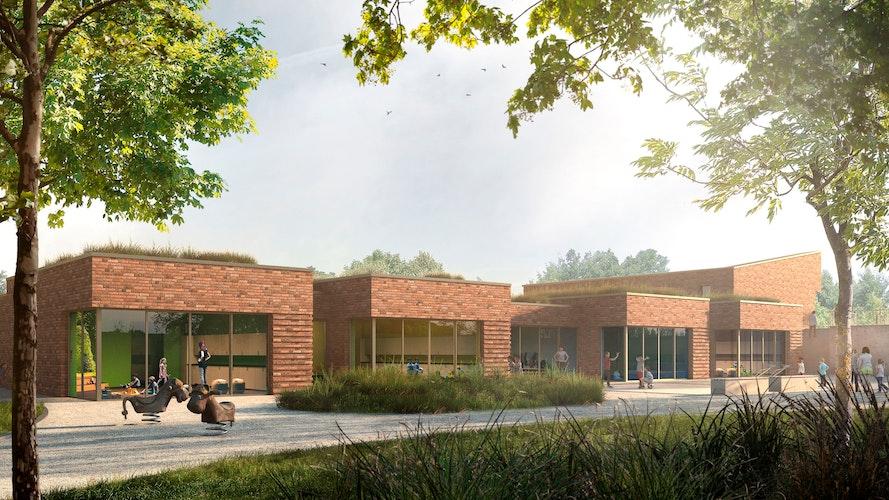 Große Fensterfronten sorgen künftig für lichtdurchflutete Räume. Visualisierung: Gemeinde Goldenstedt