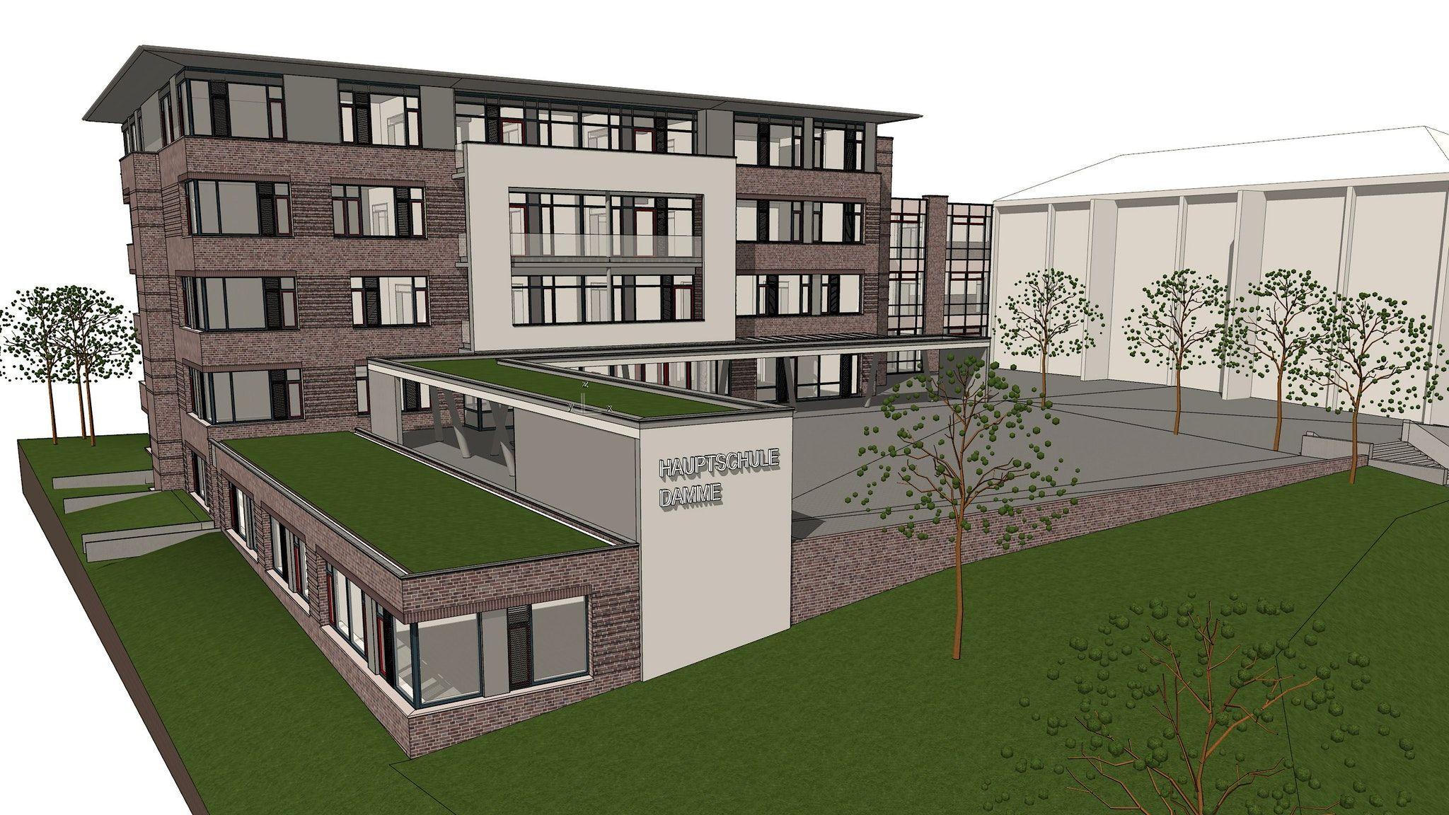 Teuer aber nötig: Obwohl die Kosten weit über das Erwartete herausragen, sind sich die Ratsmitglieder einig; das Gebäude soll entstehen. Entwurf: Bocklage und Buddelmeyer