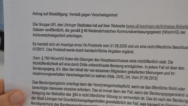 Löninger Stadtrat missbilligt Vorfall bei den Unabhängigen