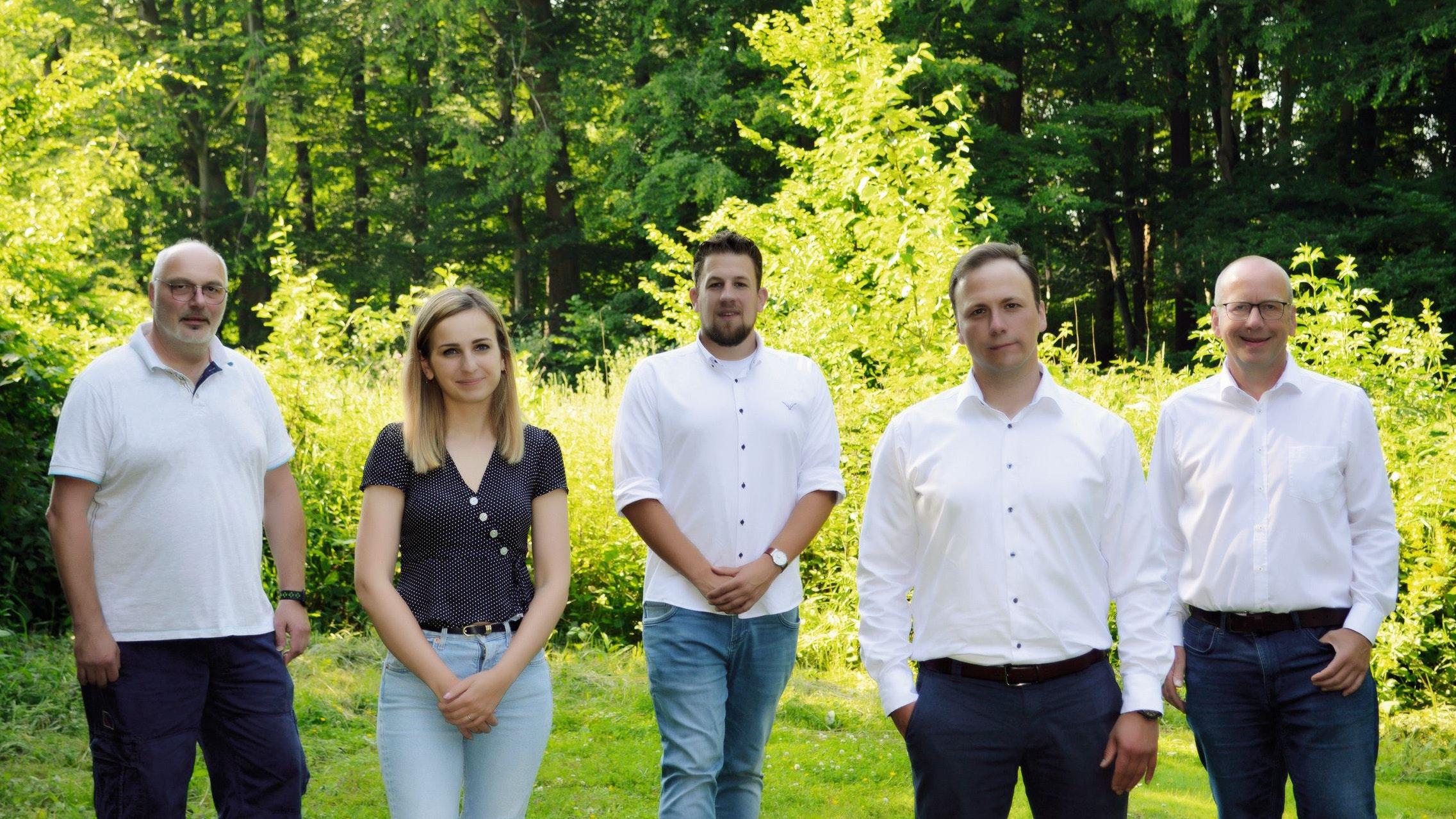 Die Kandidierenden für die Gemeinderat Cappeln: Uwe Engel (von links), Carolin Abeln, Florian Hellmann, Marcus Straeten, Clemens Poppe. Foto: Poppe