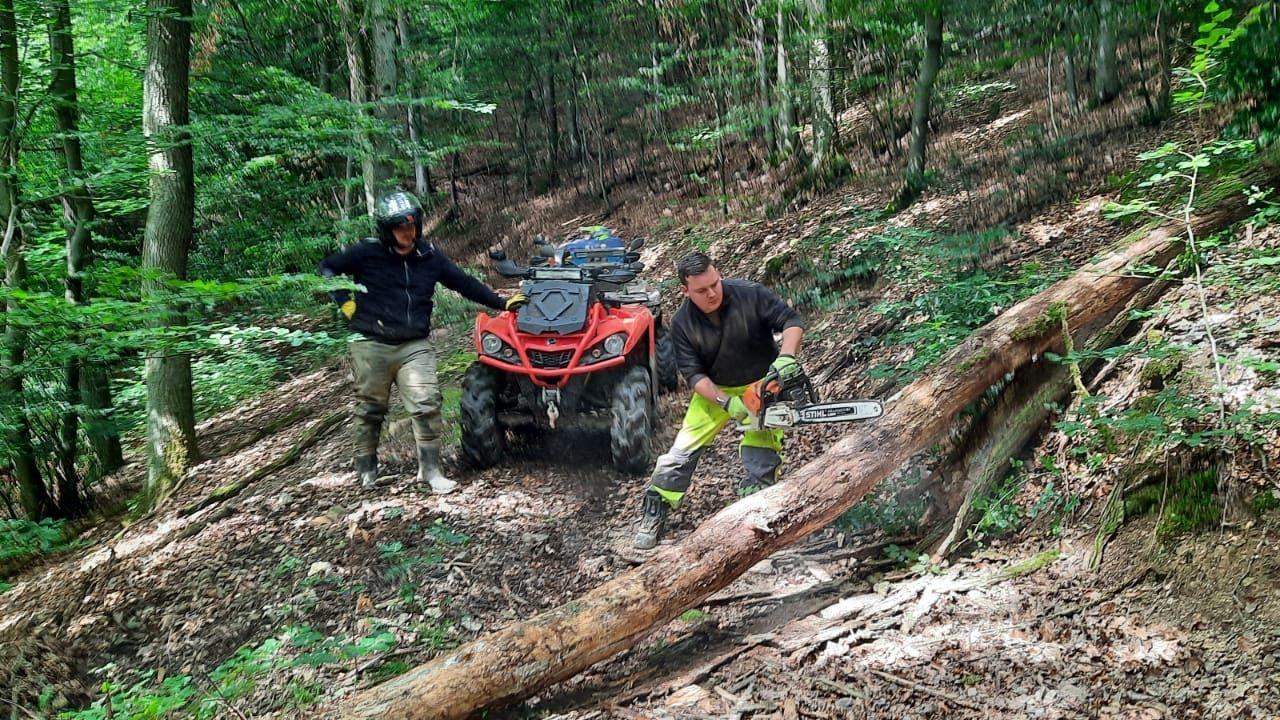 Im Einsatz: Kai Stammermann sägt einen umgerissenen Baum durch, der einen Weg versperrt. Foto: Greskamp
